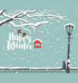 Winter landscape with snow-covered tree in park vector image
