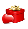red shiny heart gift with heart present vector image