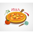 Pizza concept with tomato pepper and basil cartoon vector image