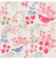 Vintage Birds Berries Pattern vector image