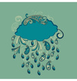 blue cloud with paisley rain vector image