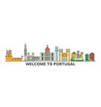 portugal outline skyline portuguese flat thin vector image