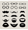 Set of moustaches and points on a beige background vector image