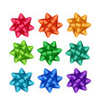 set of colored gift ribbon bows on background vector image