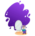 A wizard doing a spell in front of the mirror vector image vector image