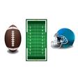 American Football Field Ball Helmet vector image