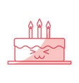 delicious cake brithday with candles kawaii vector image