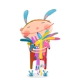 Little kid hugging rabbits funny cute toys vector image