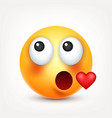 smileyemoticon with heart yellow face with vector image