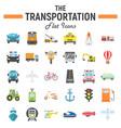 transportation flat icon set transport symbols vector image