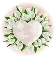 greeting card with hearts and tulips vector image