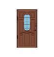 classic brown wooden entrance door closed elegant vector image