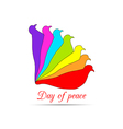 Pigeons on a white background Day of Peace vector image