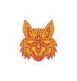 Coyote Head Sunglasses Smiling Mono Line vector image