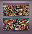 cartoon doodles ice cream banners vector image