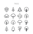 Set of simple monochromatic tree icons vector image