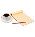 coffee and yellow notepad shut vector image vector image