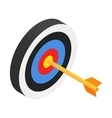 Arrow in target isometric 3d icon vector image