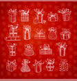 christmas gift boxes on red background with vector image
