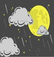 moon in the night with rain vector image