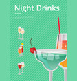 night drinks bright banner vector image