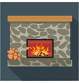 Digital fireplace room with burning wood vector image