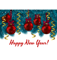 Christmas decorations branches blue fir Christmas vector image