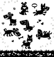 Collection of cartoon dogs silhouette vector image
