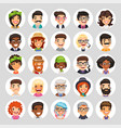 flat cartoon round avatars on white vector image