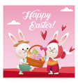 happy easter couple bunny basket egg pink vector image