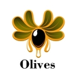 Black olive fruit with oil drops and leaves vector image