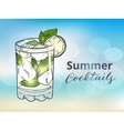 Hand drawn mojito cocktail on a blurred vector image vector image