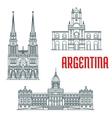 Argentina famous buildings facades vector image