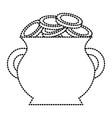 cauldron full of coins treasure image vector image