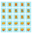 Files and folders icon set in flat design style vector image