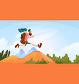 traveler man hiking in mountains happy smiling vector image