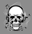 skull with headphone vector image