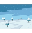 Winter low poly background with road and polygonal vector image vector image