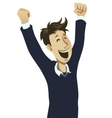 happy guy cheering vector image vector image