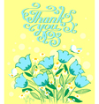 grateful card in doodle style with flowers vector image
