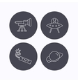 Ufo planet and telescope icons vector image