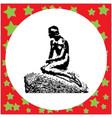black 8-bit little mermaid statue in copenhagen vector image