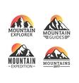 Hand drawn Mountains Logo set Ski Resort vector image