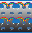 raining cloud and double rainbow pattern vector image
