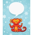 Winter holiday background with cartoon monkey and vector image