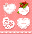 set of cards Valentine heart-shaped vector image