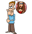 man think about woman cartoon vector image