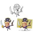 Set of cartoon pirates vector image vector image
