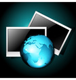 earth with photo frames vector image vector image