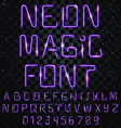Font magic Bright shiny font Electric letters vector image